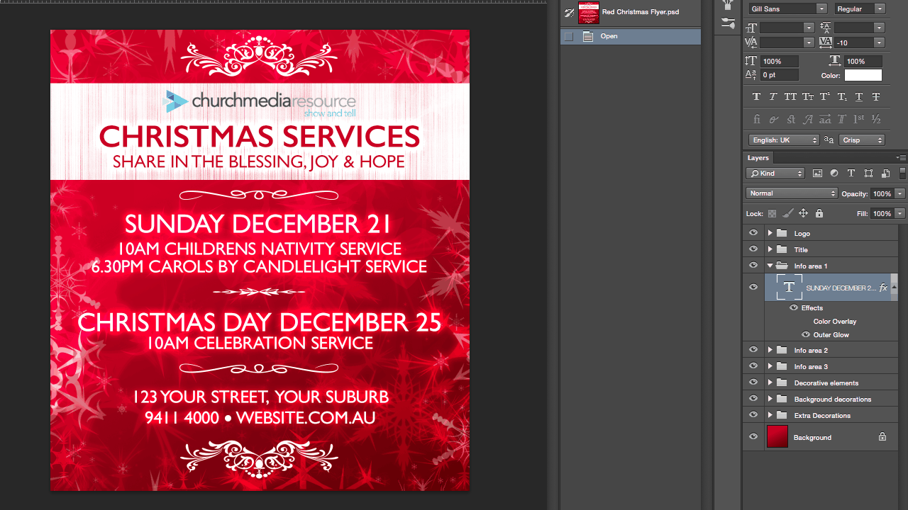 red christmas flyer PSD extra bkg