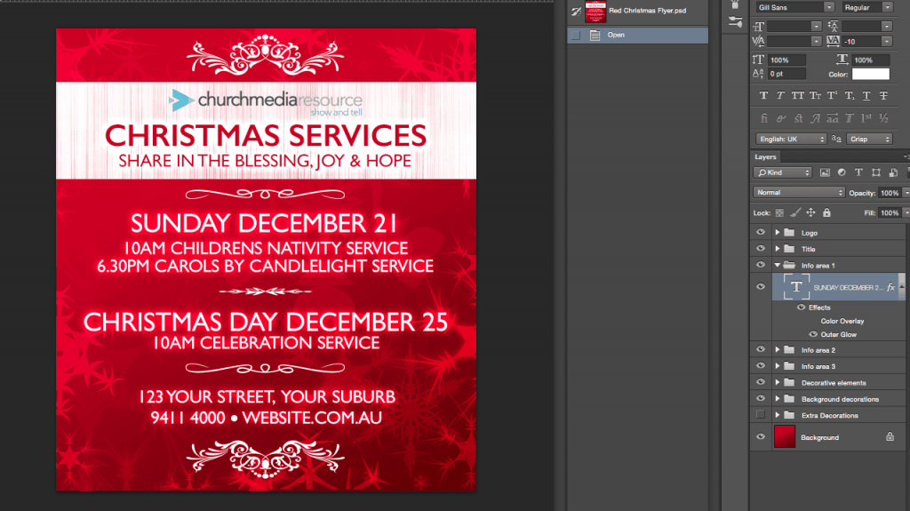 red christmas flyer psd